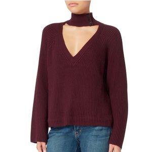 INTERMIX Akira Choker Neck Burgundy Sweater